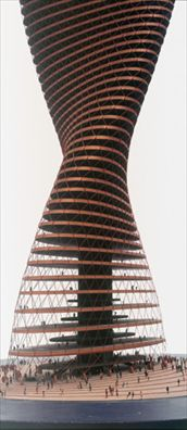Spiral High-Rise, not realized, model 1963/4  Architect: Conrad Roland