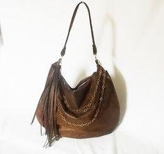 Hobo purse  brown ultra suede handbag  Vegan slouch bag by ACAmour, $79.00