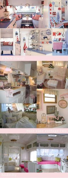 (image) Vintage Shabby Chic Camper ~ Glamper! (Glamorous Camper) ~~~ many different interior styles for small spaces