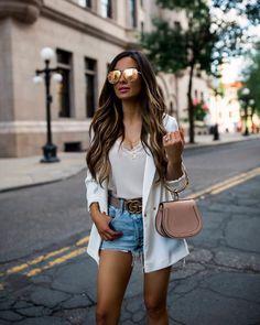 bc0e9a63630bb fashion blogger mia mia mine wearing a white blazer and a pink chloe nile  bag and