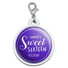 Graphics and More Personalized Custom Dark Purple Line Circle Name's Sweet Sixteen Date Birthday Chrome Plated Metal Small Pet ID Dog Cat Tag -- You can get additional details at the image link. (This is an affiliate link and I receive a commission for the sales)