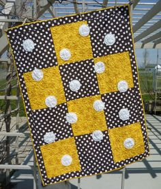 quilt by Baumcat - yellow and black polka dot