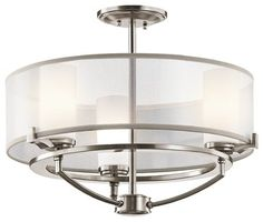 Kichler Lighting 42923CLP Saldana Modern / Contemporary Semi Flush Mount Ceiling - contemporary - Flush-mount Ceiling Lighting - Arcadian Home & Lighting