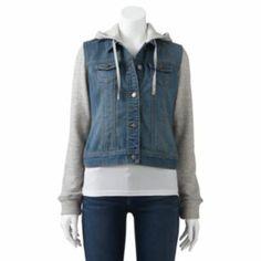 SO Mixed Media Crop Denim Jacket - Juniors I want this jacket so bad!