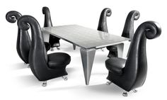 Bretz Rocky Diningtable and chairs in blcka & Silver!