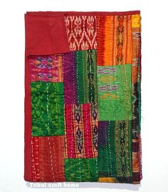 Vintage Silk Sari Kantha Patchwork Throw Hand by tribalcrafthome, $56.00