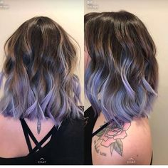 Lavender ombré bob - Care - Skin care , beauty ideas and skin care tips Ombre Bob, Blue Ombre Hair, Lilac Hair, Hair Color Purple, Hair Dye Colors, Pastel Hair, Cool Hair Color, Gray Hair, Short Lavender Hair