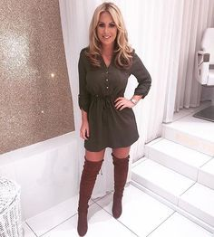 Who tuned into @towie last night? @xkatiewright killed it in our khaki shirt dress! 'drawstring textured shirt dress' #TOWIExSelect #towie #getthelook #selectfashion #getthetowielook #theonlywayisessex #celebstyle #towiestyle