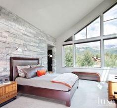 A modern Mountain home's master #bedroom. | See MORE at www.luxesource.com. | #luxemag #interiordesign #design #interiors #homedecor