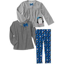 Child of Mine by Carters Baby Girls' 3 Piece Penguin, Stripe Tops and Pant Set