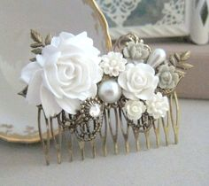White Weddings Hair Comb Bridal Hair Piece Bridesmaid Gift Hair Pin Headpiece Shabby Chic Vintage Inspired Victorian French Romance