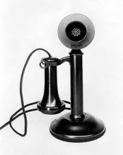 """Western Electric candlestick phone (1907). My great grandmother had one. You picked up the earpiece and asked for """"Central,"""" the operator."""