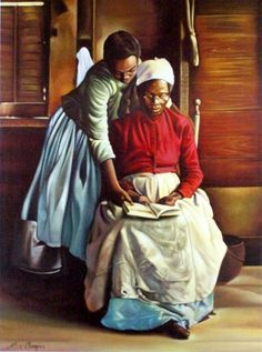 'Never Too Late to Learn' by Haitian artist, Alix Beaujour - born & raised in Port Au Prince where he mastered the use of color & imagery with private study; then, a brief stay in Paris. In 1978, he moved to the U.S. Now lives in Dallas, TX.