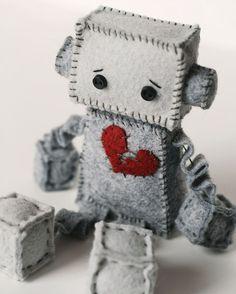Sad Little Felt Robot Plush by GinnyPenny on Etsy, $25.00