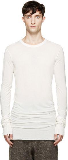 Rick Owens White Overlong T-Shirt