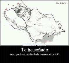 te he soñado tanto que hasta mi almohada se enamoro de ti