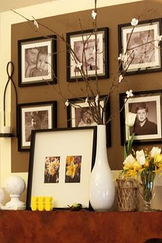 Sweet Something Designs: Springtime Mantle - I love this sites ideas Decorating On A Budget, Interior Decorating, Displaying Family Pictures, Spring Home Decor, Wall Decor, Fireplace Mantles, Fireplaces, Decor Ideas, Room Ideas