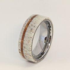 Deer Antler with Oak Pinstripe Titanium Ring | jewelrybyjohan - Jewelry on ArtFire