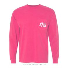 Monogrammed Long Sleeve Pocket Tee - Crunchberry – Ace & Ivy