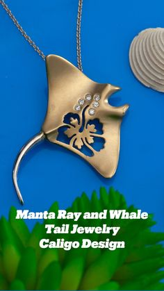 Ocean Jewelry, Nautical Jewelry, Beach Jewelry, Gold Jewelry, Gold Necklace, Manta Ray, Whale Tail, Ocean Creatures, Whale Watching