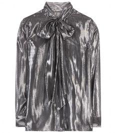 Saint Laurent Pussy bow silk blouse on shopstyle.com