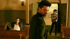"Joseph Gilgun as Cassidy, Dominic Cooper as Jesse Custer, and Ruth Negga as Tulip O'Hare in AMC's ""Preacher."""