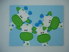 giraffenfamilie kleurrijk schilderij voor op de babykamer, Deco ideeën