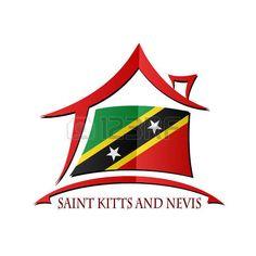 Icono de la casa hecha de la bandera de Saint Kitts y Nevis...