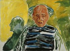 Self-Portrait with Striped Pullover by @artistmunch #expressionism