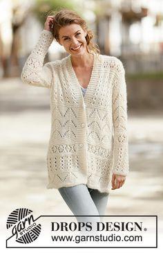 Women - Free knitting patterns and crochet patterns by DROPS Design Knit Cardigan Pattern, Crochet Jacket, Lace Jacket, Knit Jacket, Sweater Cardigan, Summer Knitting, Lace Knitting, Knitting Patterns Free, Knit Patterns
