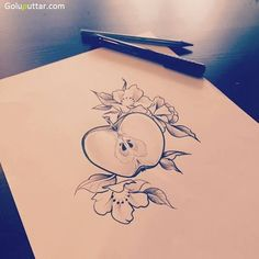 Perfect-Apple-Tattoo-Outline-Tattoo-Idea.jpg (640×640) More