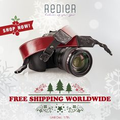 Free shipping worldwide continues! Shop now while stocks last and get the perfect #christmas gift for photographer friends and family members!   #Christmasgifts #HandCrafted #GenuineLeather  #CameraStrap #photographer #cameragear #photogear #christmasgiftideas