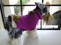 Dog Sweater Hand Knit Christmas Small 12 inches long  by jenya2