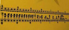 Colours Dekor: The Yellow Wall at Manjulas Home Wall Painting, Worli Painting, Wall Paintings, Ethnic Home Decor, Indian Home Decor, Diy Home Decor, Room Decor, Indian Inspired Decor, Indian Wall Art