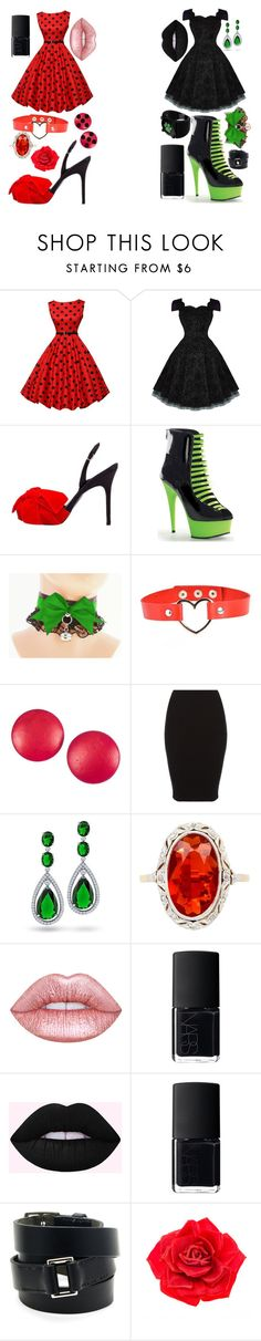 """Chat Noir and Ladybug"" by songird on Polyvore featuring Bruno Frisoni, Pleaser, Charles Jourdan, Bling Jewelry, NARS Cosmetics, Hermès and Johnny Loves Rosie"