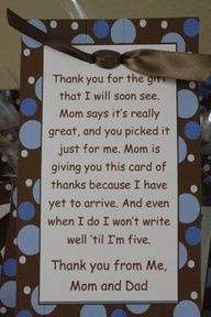 We are terrible at thank you notes. After our wedding we wrote out out almost all of them, but never got them addressed and mailed. With our older daughter we did something similar to this (that poetically included an apology for not personalizing) and included a photo of our new family. any thank you is better than none at all.