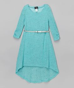 Another great find on #zulily! Aqua Belted Hi-Low Dress - Girls by 2 hip by Wrapper #zulilyfinds