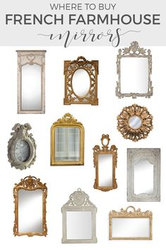 Create French Country charm with decorative mirrors. Use an antique mirror or reproduction gold mirrors in century style to create the look. Farmhouse Mirrors, French Farmhouse Decor, French Home Decor, French Country Decorating, French Country Wall Decor, French Country Furniture, Country Farmhouse, Modern French Country, French Country Bedrooms