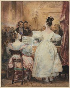 Eugene Francois Marie Joseph Deveria. A Concert: Laura Devéria Singing , 1831. Cleveland Museum of Art.