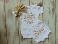 Brand Sparkling New Gold Glitter Bodysuit by AnnMarieAvenue