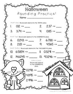 Halloween Rounding Decimals FREEBIE! I hope that it brings a little holiday spirit into your classroom while practicing important skills! If you like it, please leave me positive feedback and check out the other items in my store! :) ESPECIALLY check out my Halloween Pack which includes this page, plus many more pages for this spooky time of year!http://www.teacherspayteachers.com/Product/Printer-Friendly-Halloween-Pack-Math-AND-Literacy-Activities-Grades-4-5-1...