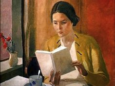 themirame: Alexander Deineka, Russian, Woman Reading, 1934 (not Edward Hopper) Art And Illustration, Reading Art, Woman Reading, Reading Books, Tea Reading, Claude Monet, Rembrandt, Female Art, Painting & Drawing