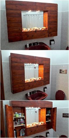 This is a creative design creation of wood pallet for your bathroom mirror frame art work. This idea is favorable much for the house makers who are in favor of adding some furniture products in the bathroom areas of the house as well. You would be finding it so classy and innovative.