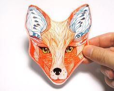 Cara de zorro rojo etiqueta engomada del animal / / venta 3 por 2 / 100% impermeable etiqueta de vinilo.