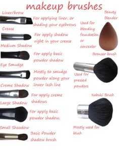 Makeup brushes and their uses.
