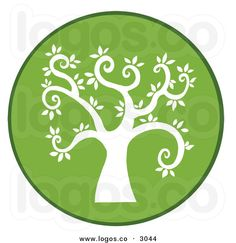 Royalty Free Vector of a Round Curly Branched Tree Logo