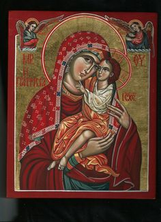 """Miraculous Icon of Panagia Giatrissa (""""The Healer""""). Mother of God with The Child Iisus. Byzantine icon handmade painted."""