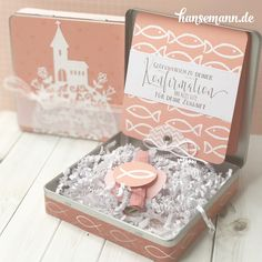 Schöne Geldgeschenkboxen zur Kommunion Confirmation Cards, Pillow Box, Stamping Up, Baby Cards, Gift Wrapping, Place Card Holders, Diy, Invitations, Paper Mill