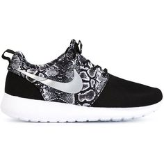 Nike 'Roshe Run' sneakers ($130) ❤ liked on Polyvore featuring shoes, sneakers, black, round toe sneakers, snake print shoes, python shoes, nike and round cap