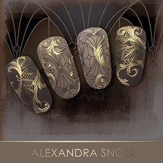 Nails using background image with foil overlay by @alexandrasnobl